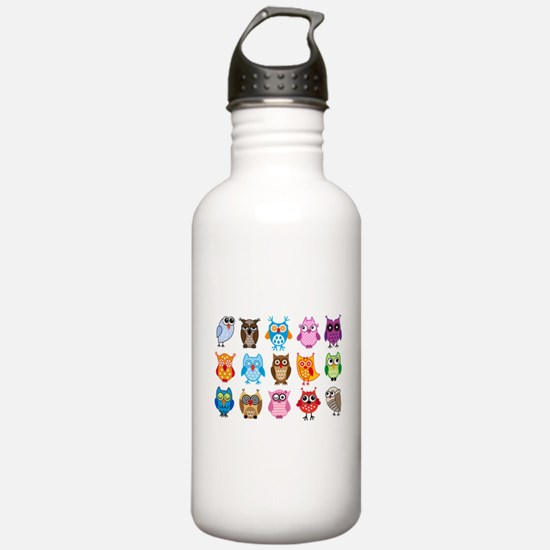 Colorful cute owls Sports Water Bottle