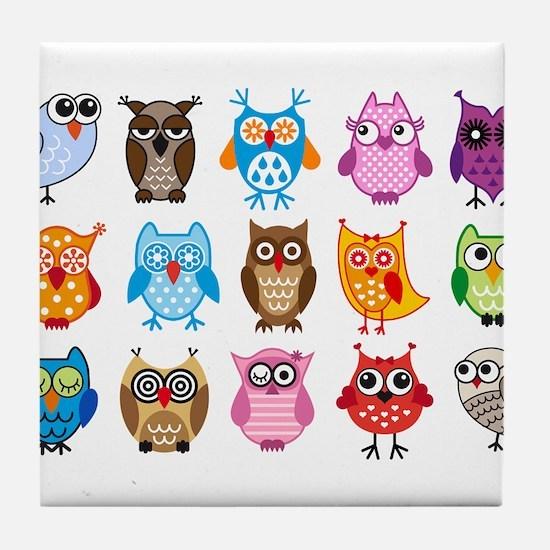 Colorful cute owls Tile Coaster