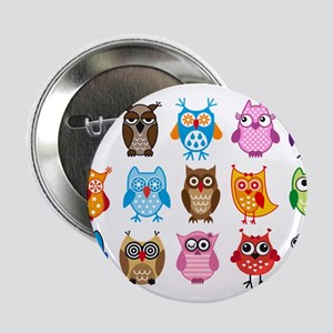 "Colorful cute owls 2.25"" Button"