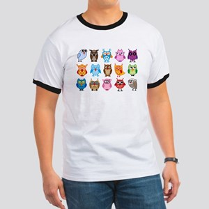Colorful cute owls Ringer T