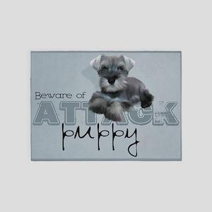 Schnauzer Puppy 5'x7'Area Rug
