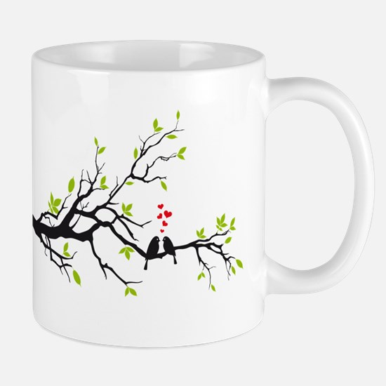 Birds in love with red hearts on spring tree Mug