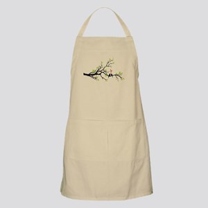 Birds in love with red hearts on spring tree Apron