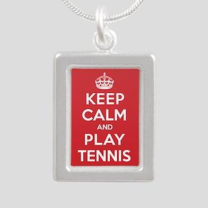 Keep Calm Play Tennis Silver Portrait Necklace