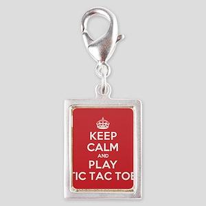 Keep Calm Play Tic Tac Toe Silver Portrait Charm