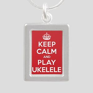 Keep Calm Play Ukelele Silver Portrait Necklace