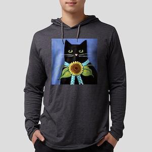 BlackCATPortraitSnflowerTILE Mens Hooded Shirt