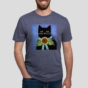 BlackCATPortraitSnflowerTIL Mens Tri-blend T-Shirt