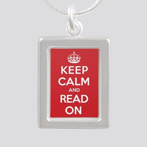 Keep Calm Read Silver Portrait Necklace