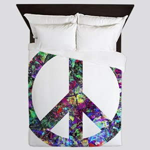 Colorful Peace Sign Queen Duvet