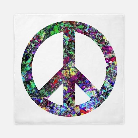 Colorful Peace Sign Queen Duvet