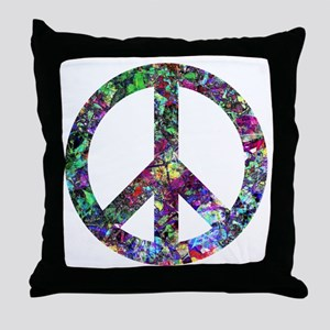 Colorful Peace Sign Throw Pillow