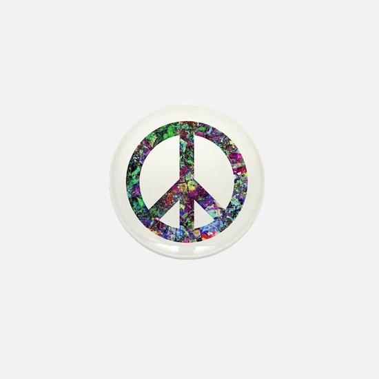 Colorful Peace Sign Mini Button