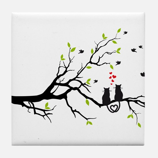 Cats in love with red hearts on spring tree Tile C