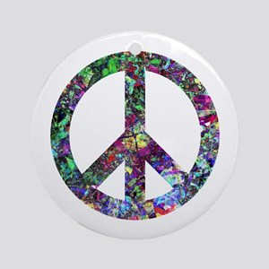 Colorful Peace Sign Ornament (Round)