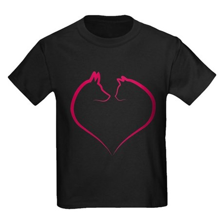 Cat and dog faces in red heart silhouette Kids Dar