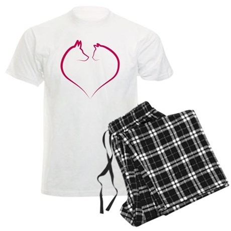 Cat and dog faces in red heart silhouette Men's Li