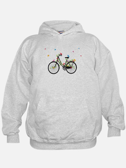 Old vintage bicycle with flowers and birds Hoodie