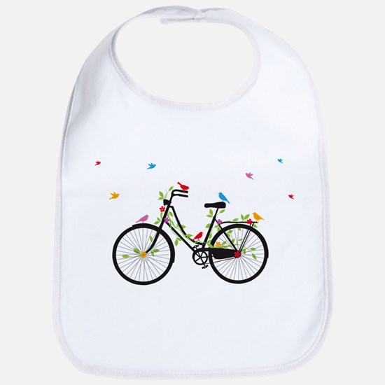 Old vintage bicycle with flowers and birds Bib