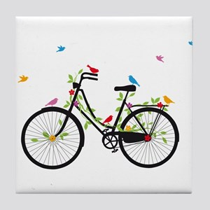Old vintage bicycle with flowers and birds Tile Co
