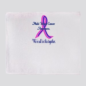 Male Breast Cancer Awareness Throw Blanket