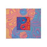 Blue and Orange Yin Yang Symbol Throw Blanket
