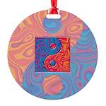 Blue and Orange Yin Yang Symbol Round Ornament