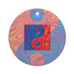 Blue and Orange Yin Yang Symbol Ornament (Round)