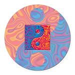 Blue and Orange Yin Yang Symbol Round Car Magnet