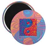 Blue and Orange Yin Yang Symbol Magnet
