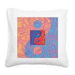 Blue and Orange Yin Yang Symbol Square Canvas Pill