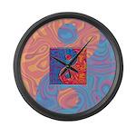 Blue and Orange Yin Yang Symbol Large Wall Clock