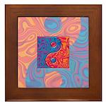 Blue and Orange Yin Yang Symbol Framed Tile