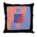 Blue and Orange Yin Yang Symbol Throw Pillow