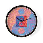 Blue and Orange Yin Yang Symbol Wall Clock
