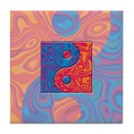 Blue and Orange Yin Yang Symbol Tile Coaster