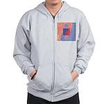 Blue and Orange Yin Yang Symbol Zip Hoodie
