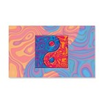 Blue and Orange Yin Yang Symbol 20x12 Wall Decal