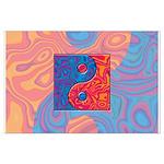 Blue and Orange Yin Yang Symbol Large Poster