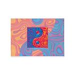 Blue and Orange Yin Yang Symbol 5'x7'Area Rug