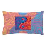 Blue and Orange Yin Yang Symbol Pillow Case