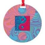 Pink Turquoise Yin Yang Round Ornament