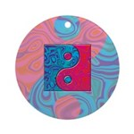 Pink Turquoise Yin Yang Ornament (Round)