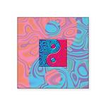 Pink Turquoise Yin Yang Square Sticker 3