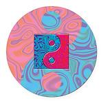 Pink Turquoise Yin Yang Round Car Magnet
