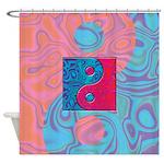 Pink Turquoise Yin Yang Shower Curtain