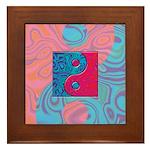 Pink Turquoise Yin Yang Framed Tile