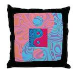 Pink Turquoise Yin Yang Throw Pillow