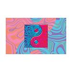 Pink Turquoise Yin Yang 35x21 Wall Decal