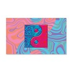Pink Turquoise Yin Yang 20x12 Wall Decal
